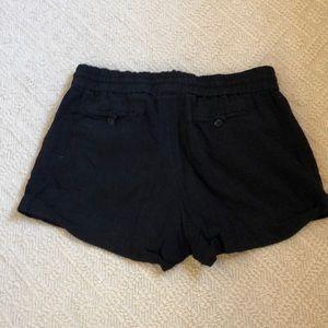 Love Tree Shorts - LOVE TREE Black Linen Drawstring Shorts